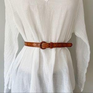 Vintage Cognac Brown Skinny Leather Waist Belt XS